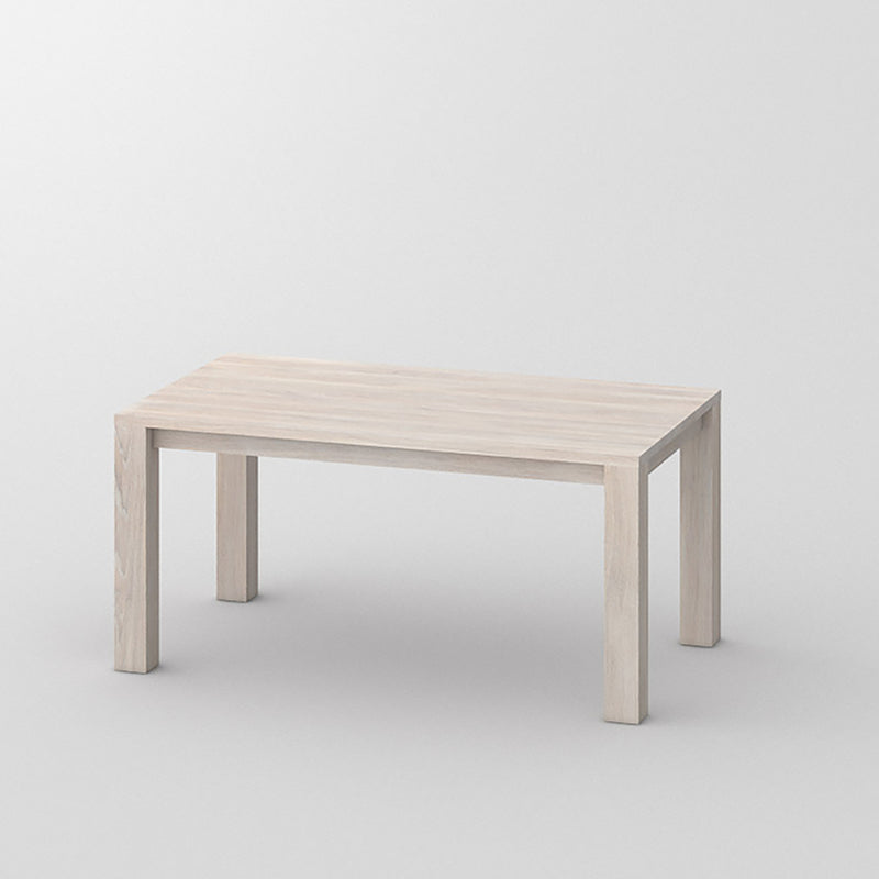journeyman dining table in chalked oak,  four corner legs, simple top.