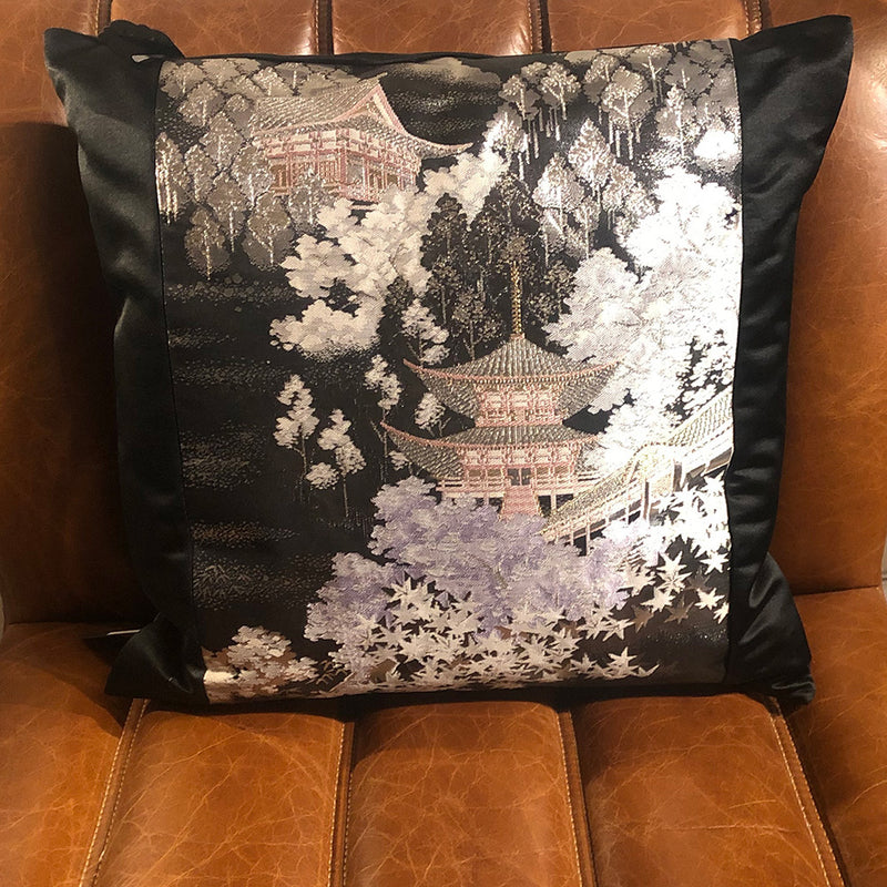 Black Kyoto Temple Obi Cushion