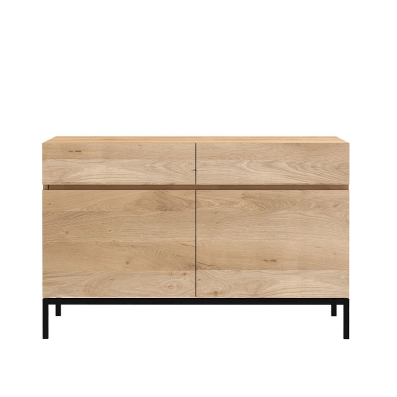 L1 sideboard showing flat front, grain continuous piece along all door fronts. 2 door option shown with black metal leg