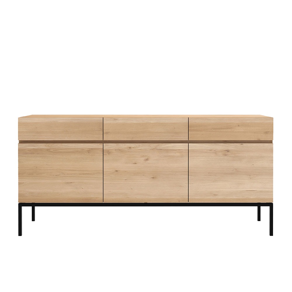 L1 sideboard in 3 doors, beneath 3 drawers, flat front with no handles, shown on black legs.