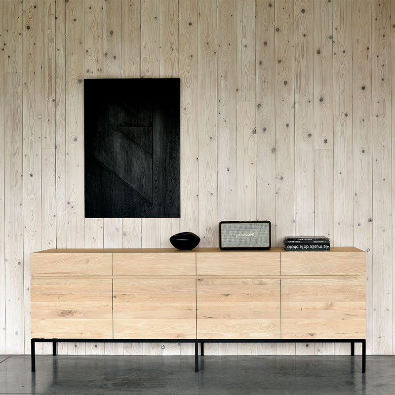 L1 sideboard showing flat front, grain continuous piece along all door fronts. 4 door option shown with black metal leg