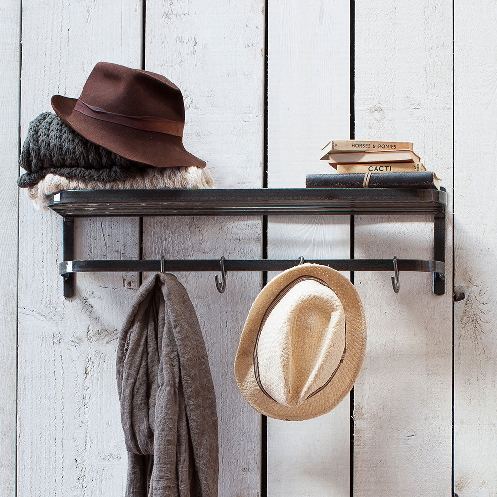 Wall hanging shelf and hook, shown with hallway hats and scarves hanging