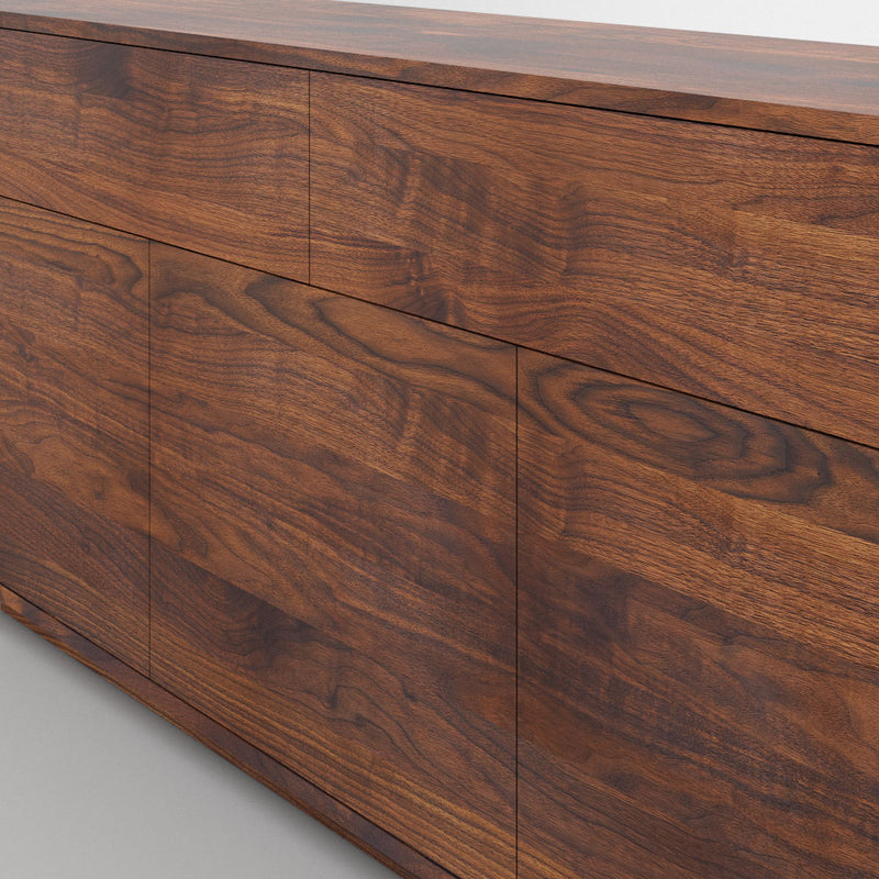 Linn sideboard with flat handle less front.close up of continuous grain in walnut