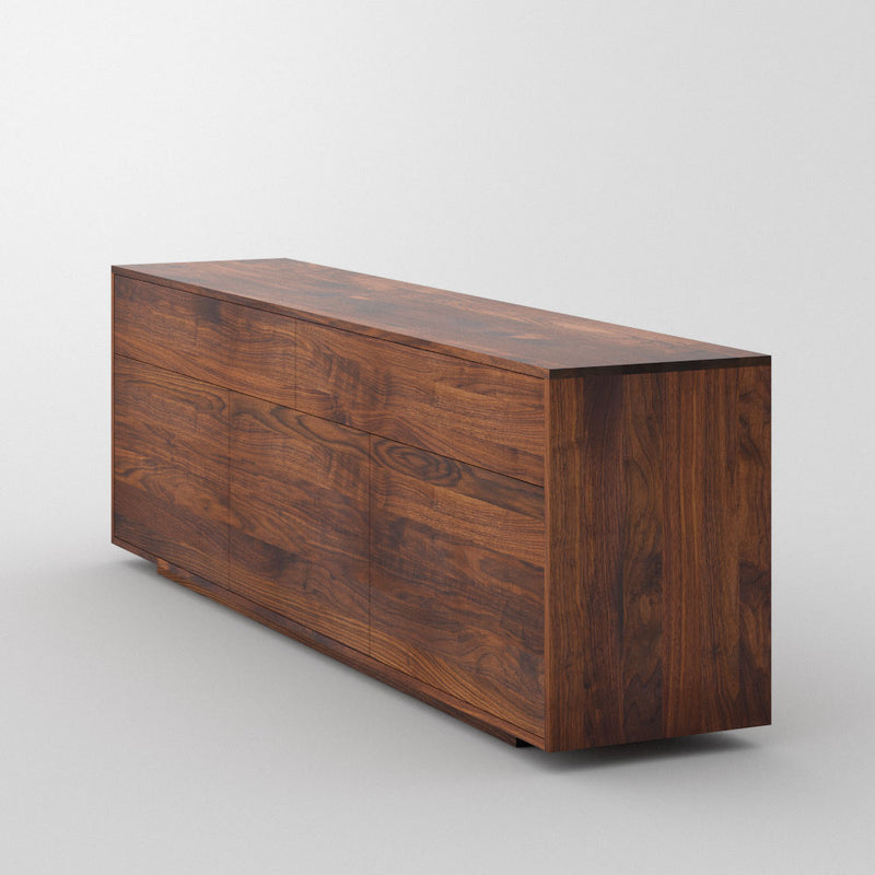 Linn sideboard with flat handle less front. two drawers over three doors-dark walnut