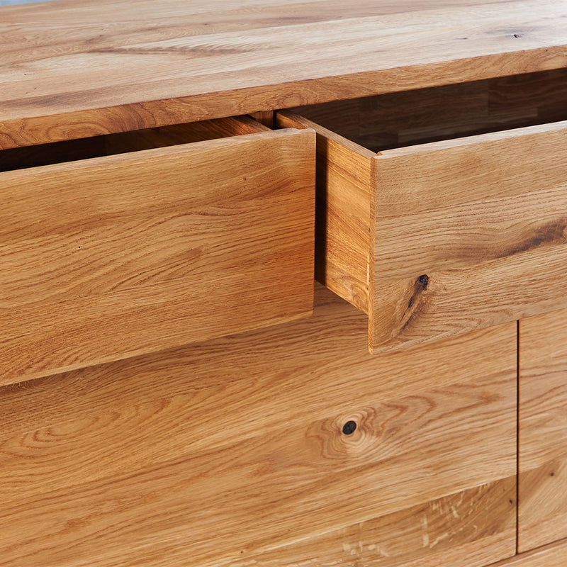 Sideboard opening action, simply push to open and close the doors and drawers