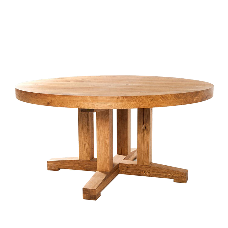round oak dining table with cross pedestal base