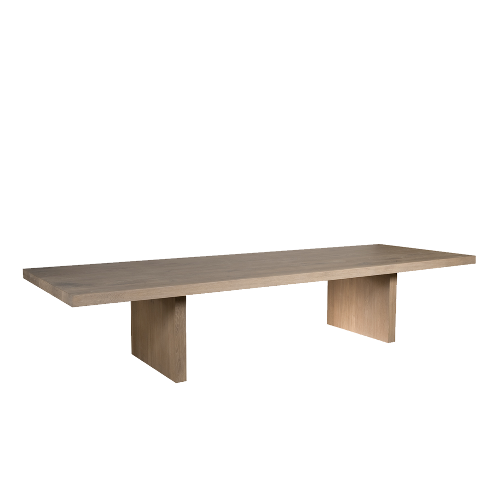 mac dining table with slab style leg and thick oak top