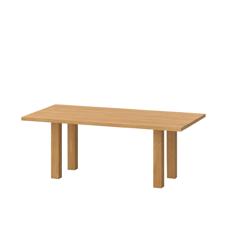 mallard oak table side view showing legs under the table top, with space at the edges.