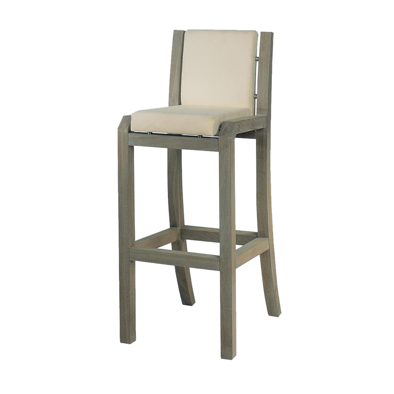 Oak bar stool with cream leather seat