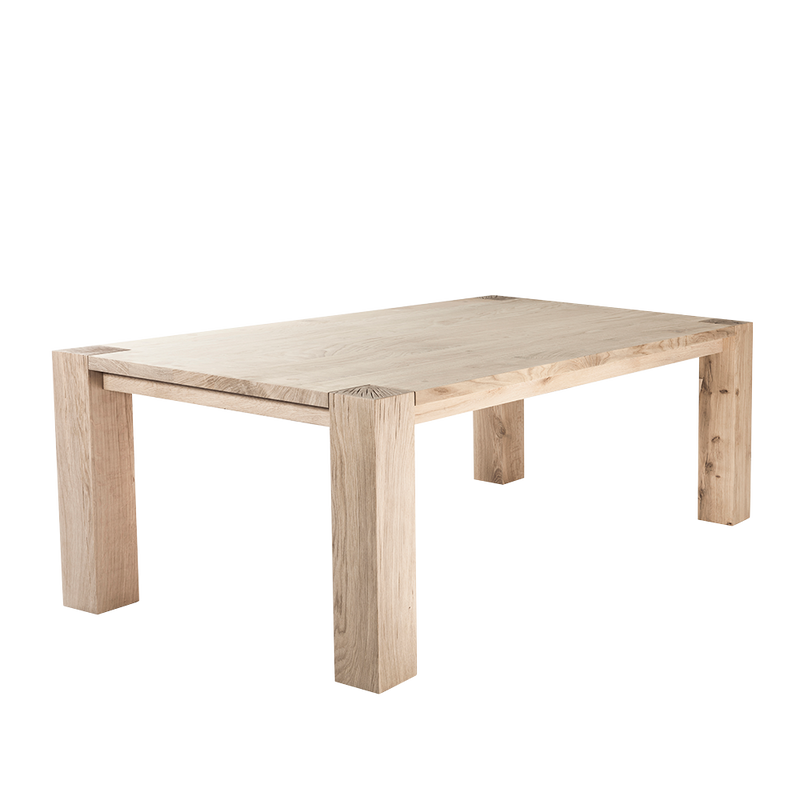 manor dining table with solid 12cm legs and character splitting on the legs