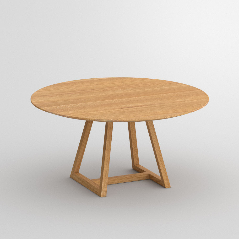 round oak dining table with frame base