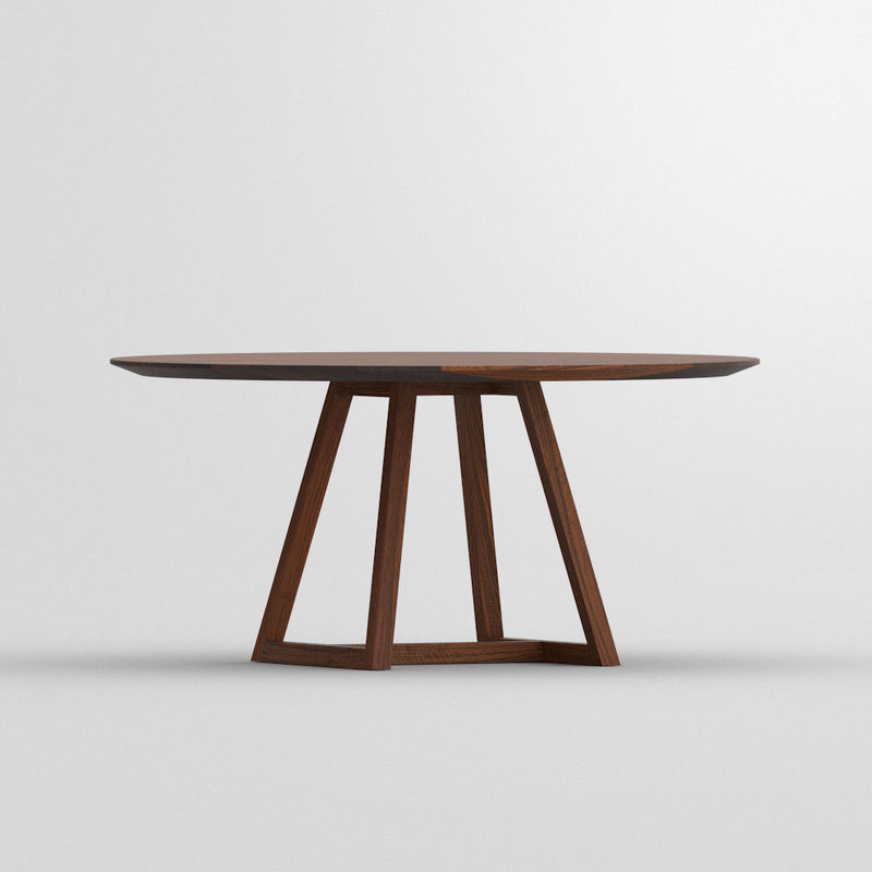 side view of round walnut dining table