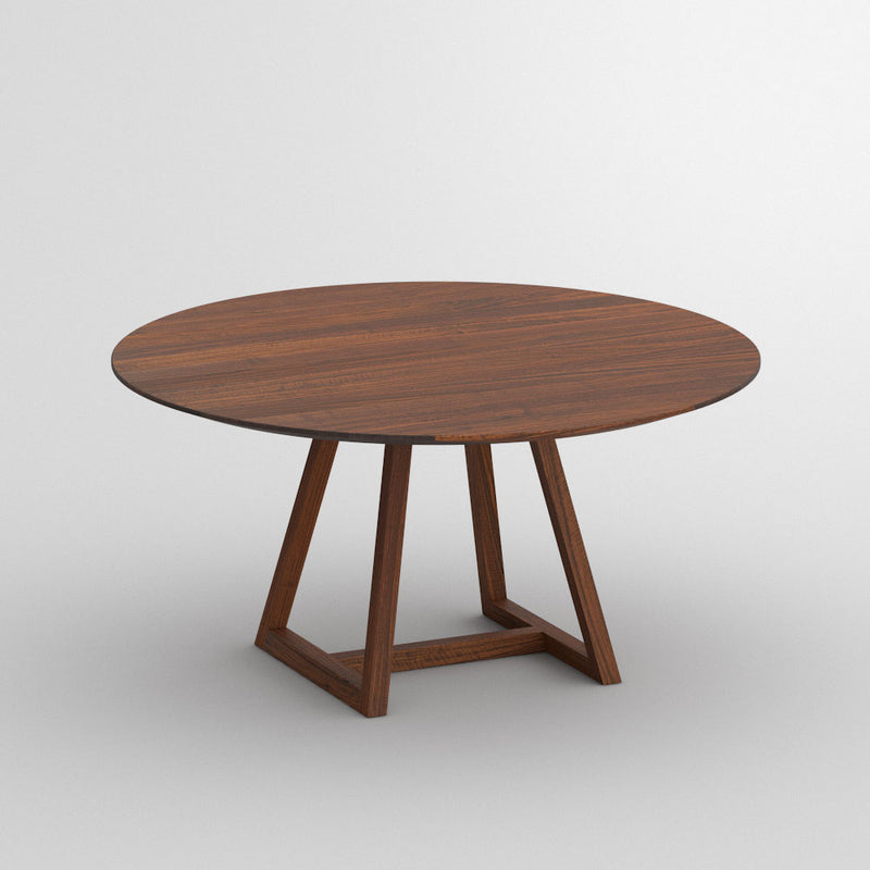 walnut round dining table with frame base