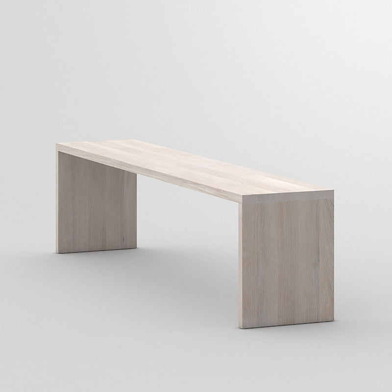 maya bench in white oiled oak, shows the flush sides and top