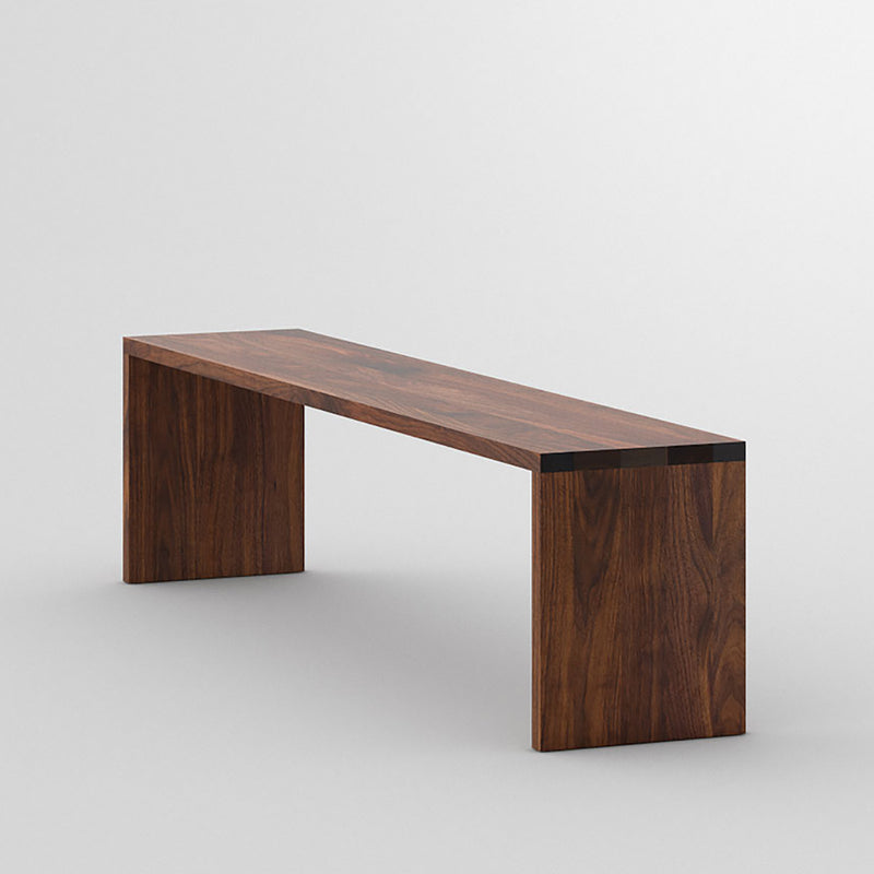 maya bench in Walnut, shows the flush sides and top