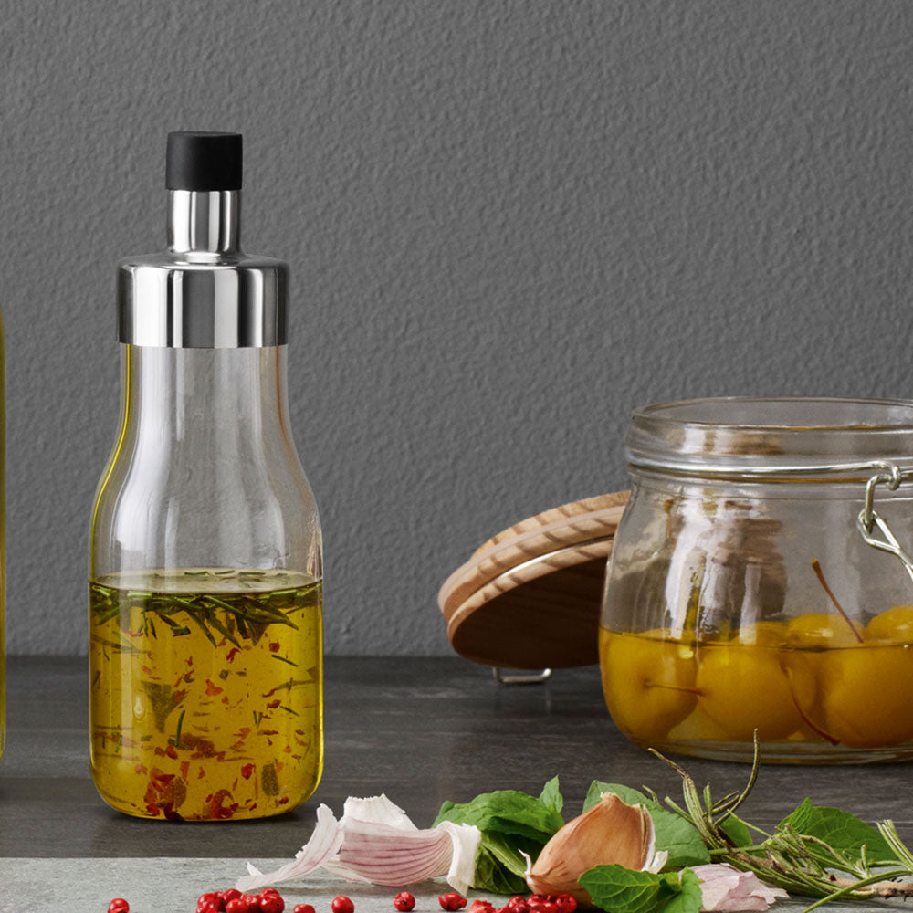 salad dressing shaker on kitchen counter with cap on.