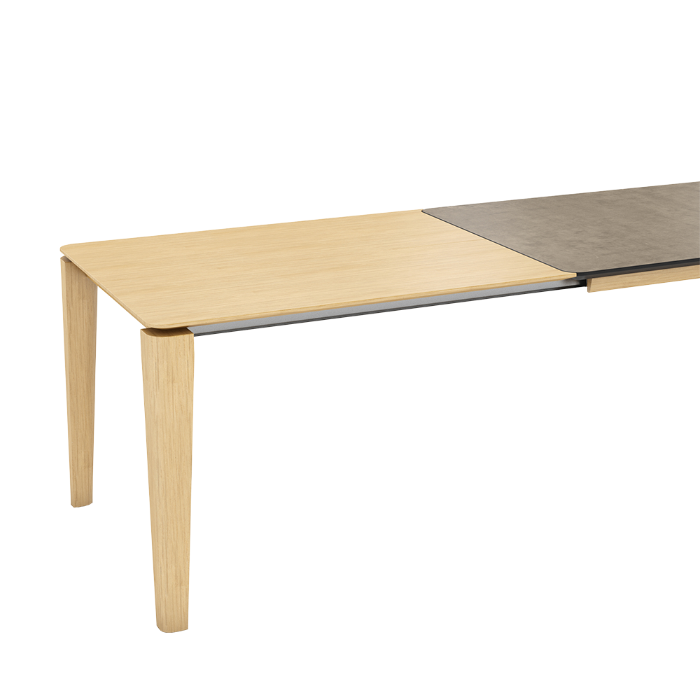oxford 2 table with ceramic top and wood extension mechanism