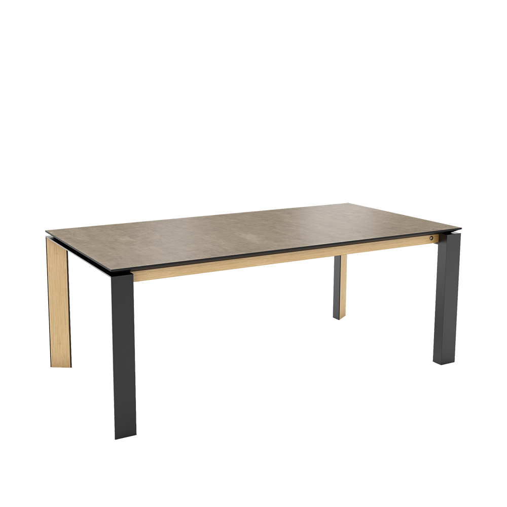 oxford 3 table with grey ceramic top-black metal legs and oak side frame