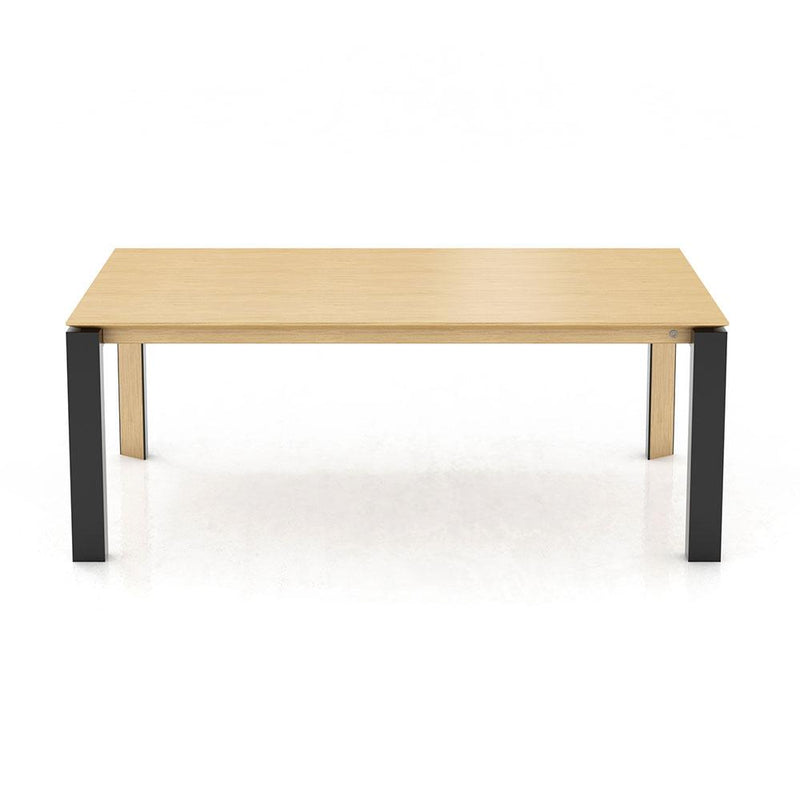 oxford 3 dining table with wood top and black metal and wood legs