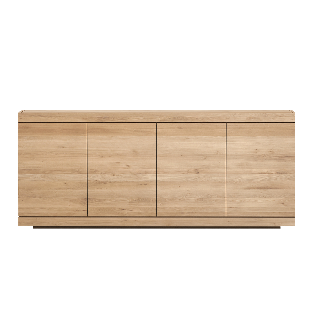 BGR oak sideboard, handle less flat front , four doors wide.