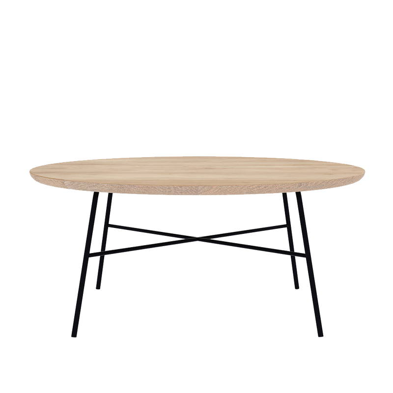 D1 coffee table side view, round tapered edge on black metal frame and legs, cross braced underneath