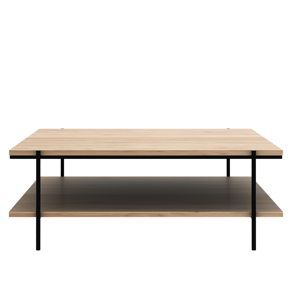 oak square coffee table with shelf and black metal legs-size 1 metre square