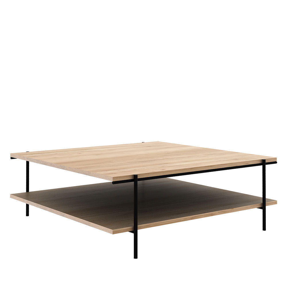 Side view of oak square coffee table with shelf and black metal legs-size 1 metre square
