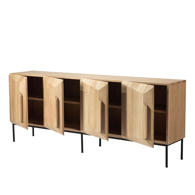 Solid oak 4 door sideboard on black metal legs, Doors open with shelves inside