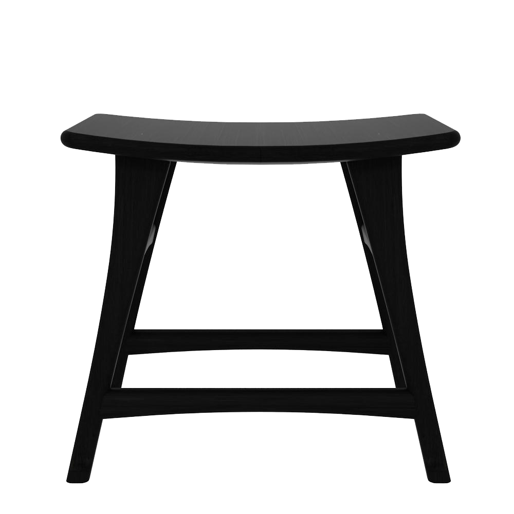 black oak stool with curved seat and foot rest-dining table height