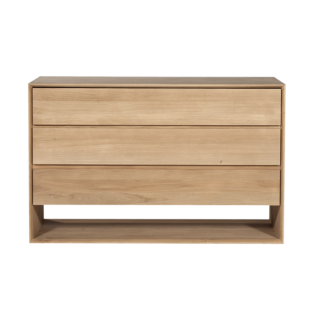 flat front  handle-less drawers with space at the base for shoe storage