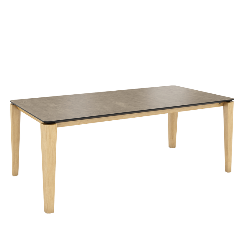 Ceramic top table in grey with oak rounded profile legs
