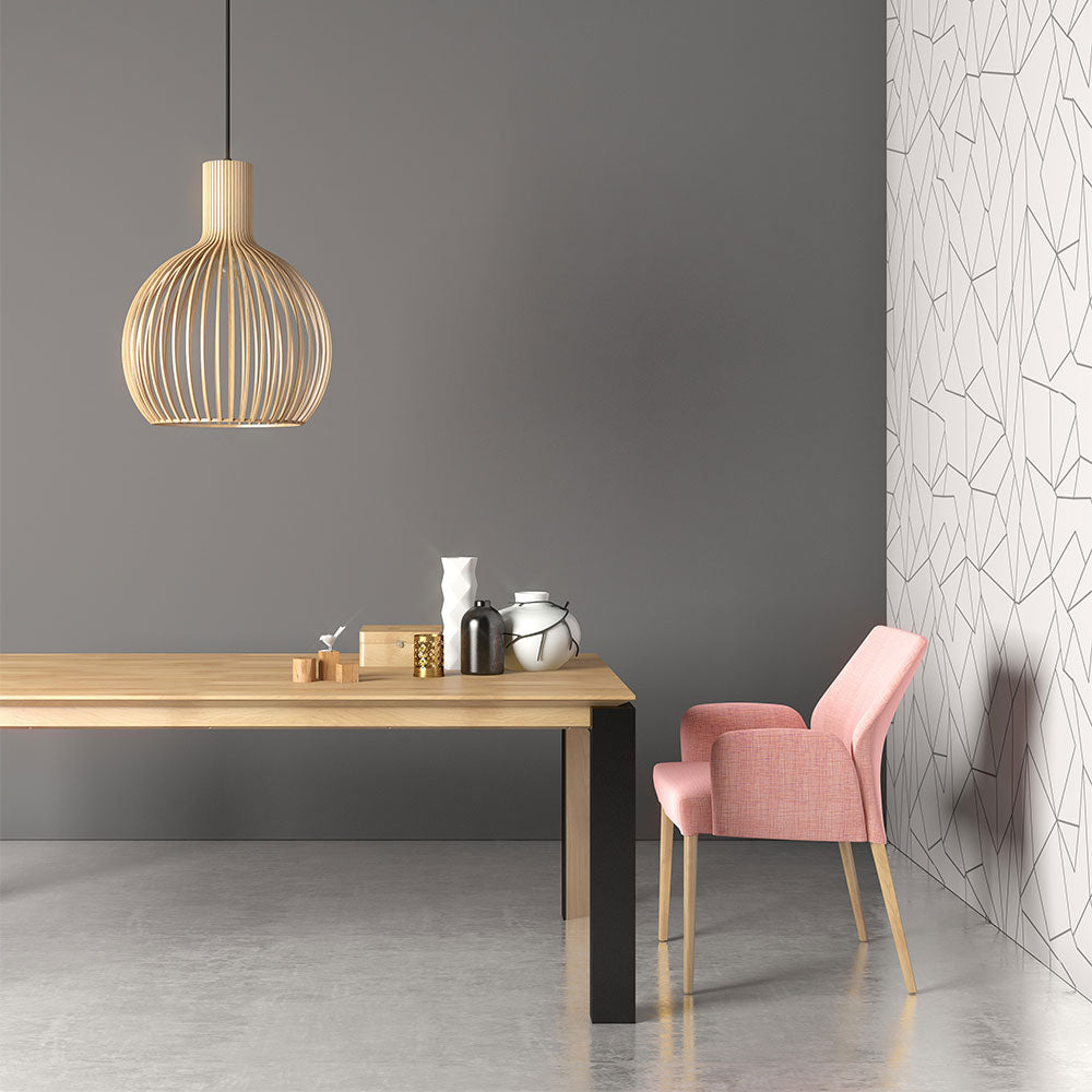 oxford 3 dining table shown with pink fabric chair-table has wood top with black metal leg
