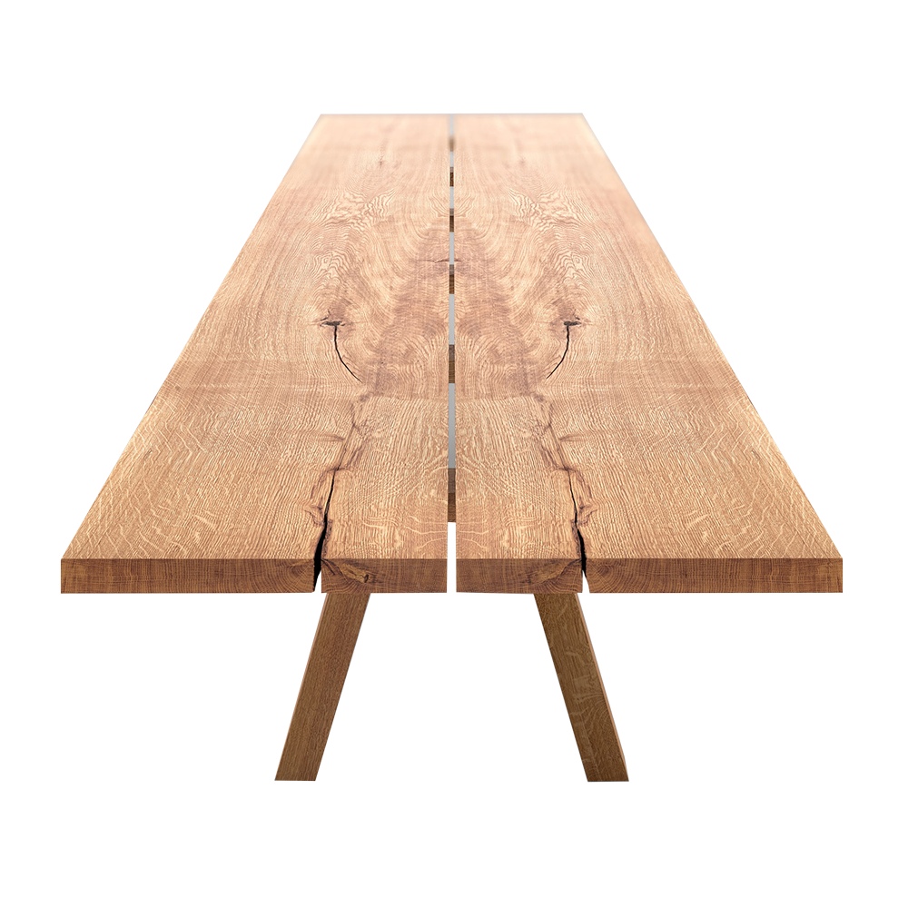 oak table made from splitting a tree in half so the two sides mirror each other