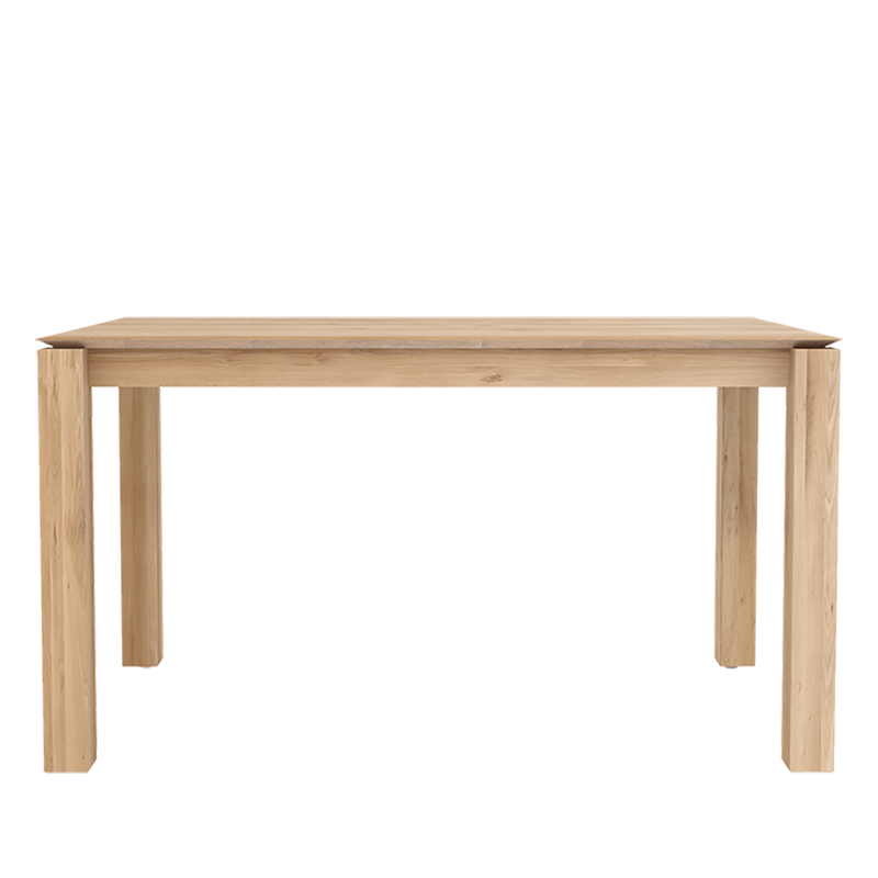 Planar oak dining table with undercut profile top