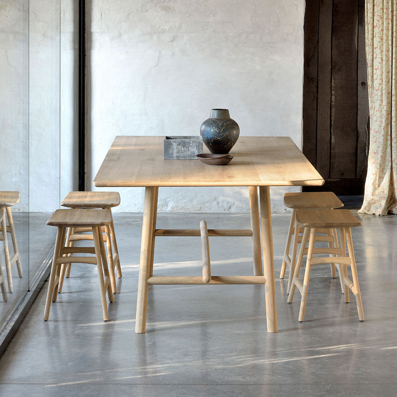 Profile dining table shown with the os-1 dining stools