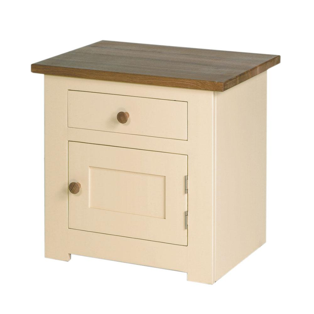 Provence painted bedside cupboard in cream paint finish, Oak top and oak knobs on the single drawer over single door.