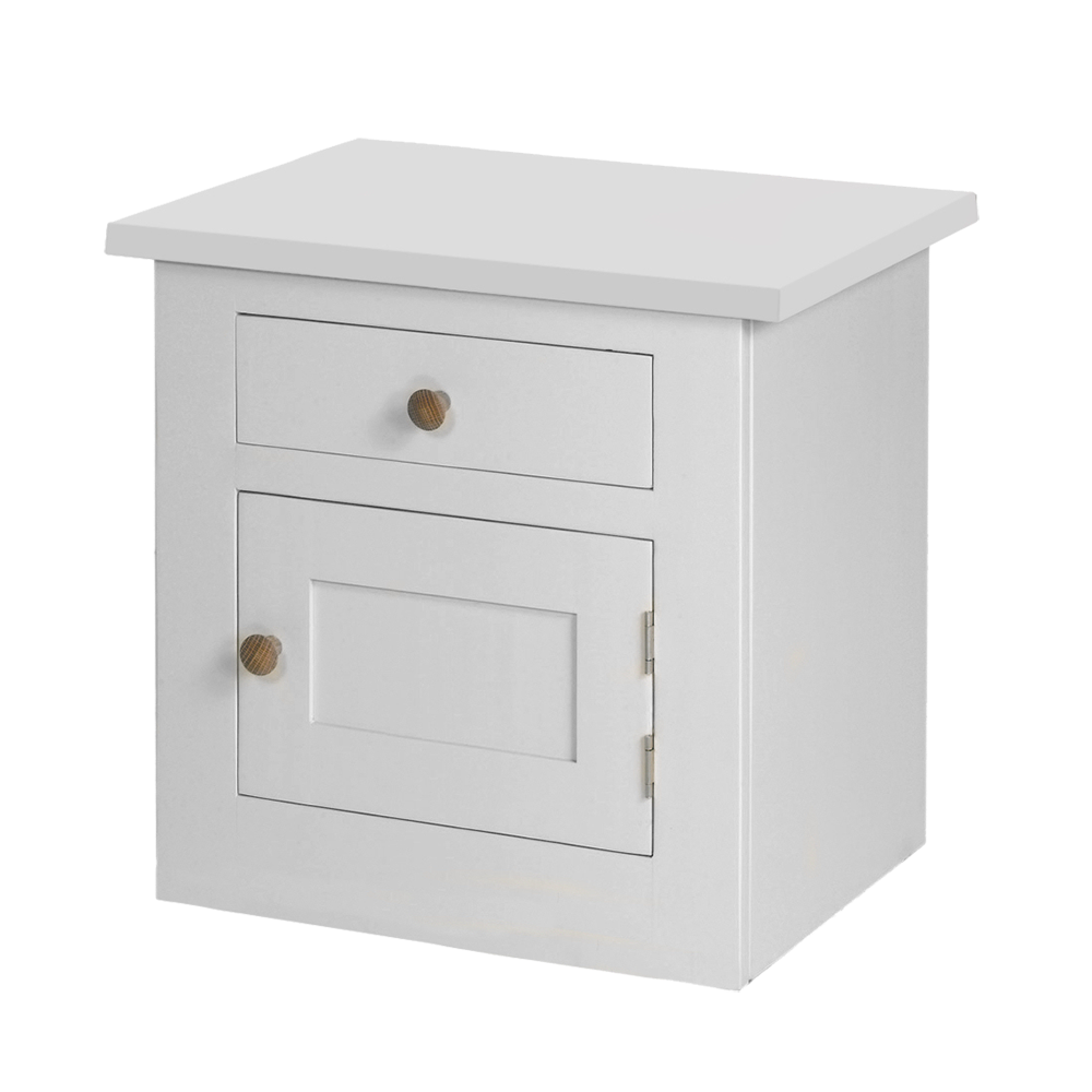 Provence painted bedside in all white paint finish, oak knobs on the single drawer over single door.