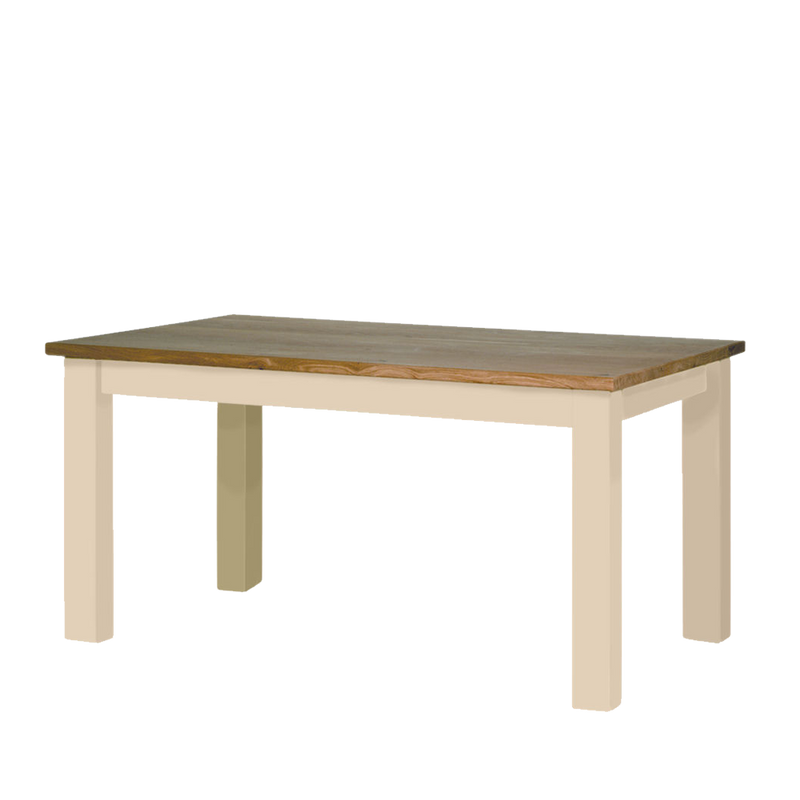 provence Oak table with painted cream straight legs