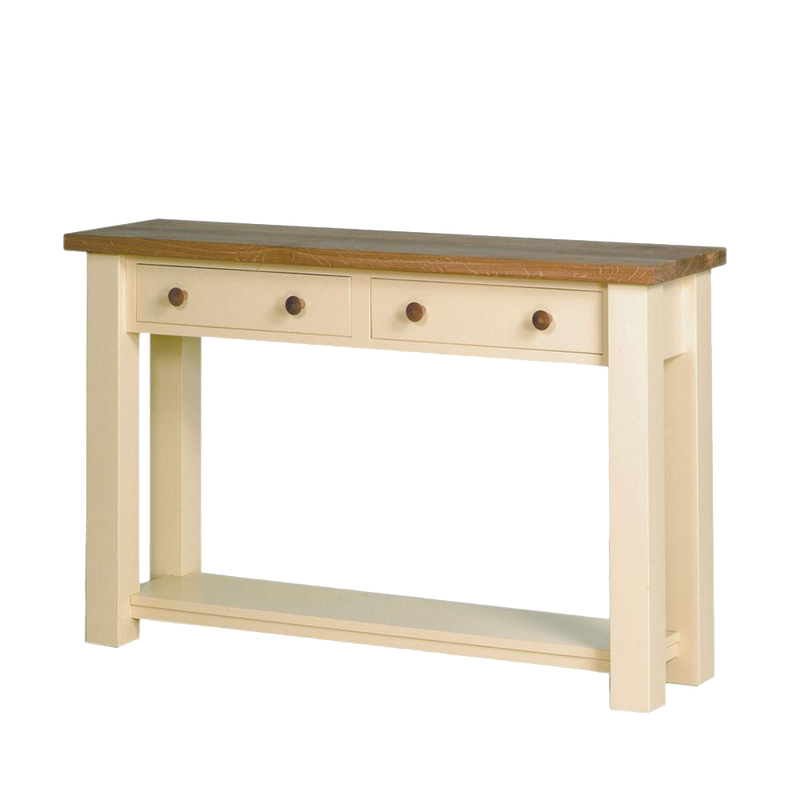 Provence wood console table, pained cream with oak tabletop and knobs. two drawers for keys or mail.
