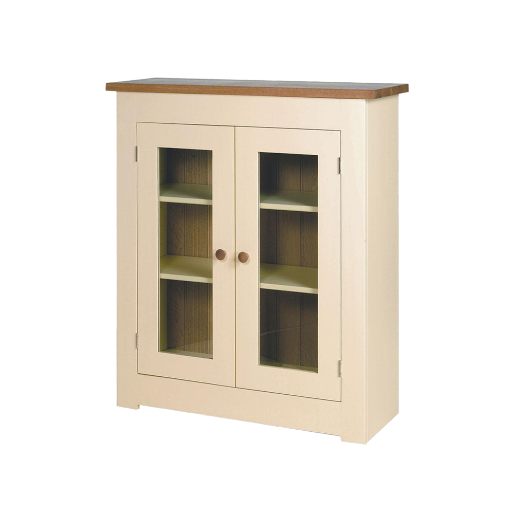 Provence painted cupboard, glass front doors, painted shelves with natural oak back board, top and knobs.