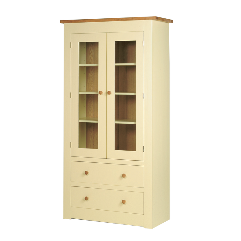 Provence painted Glazed Display Cabinet with 2 Drawers in base and two glazed doors at the top