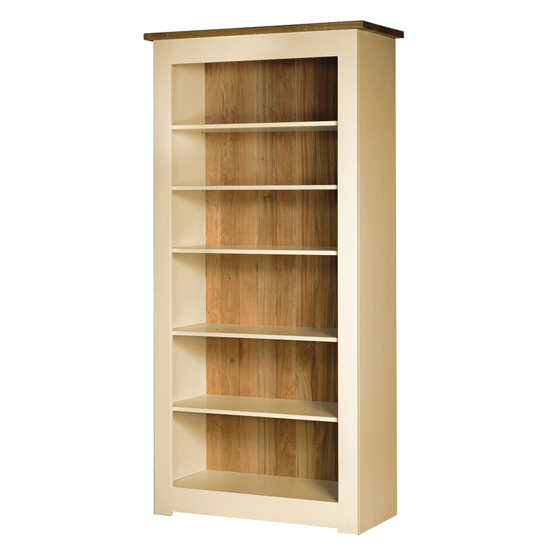 Provence painted bookcase. frame and shelves are shown all cream with natural oak top and back.