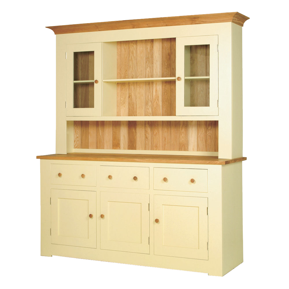 Provence painted dresser in cream paint with natural oak top, counter top and back board. oak knobs.