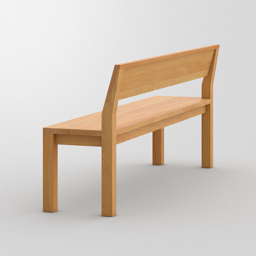 Pure wood bench in oak, solid wood seat and back,shown from behind, solid back brace