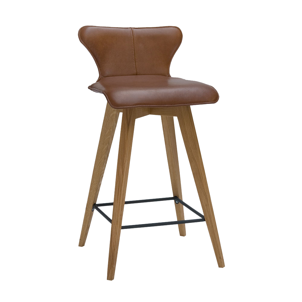 L1 barstool with oak legs and black footrest, leather seat shown in brown.