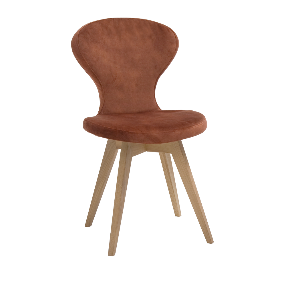 R1 dining chair, shown in brown leather with natural oak legs