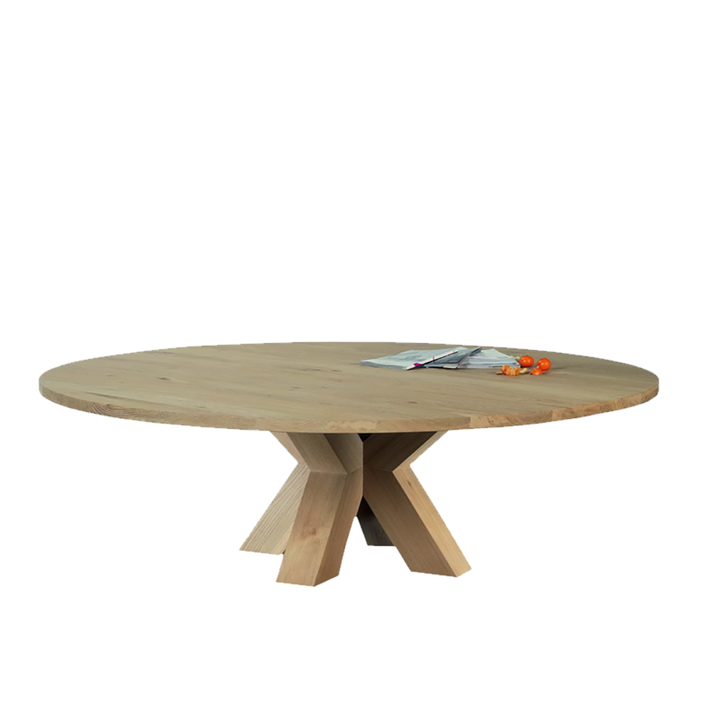 round oak dining table with thick central pedestal legs