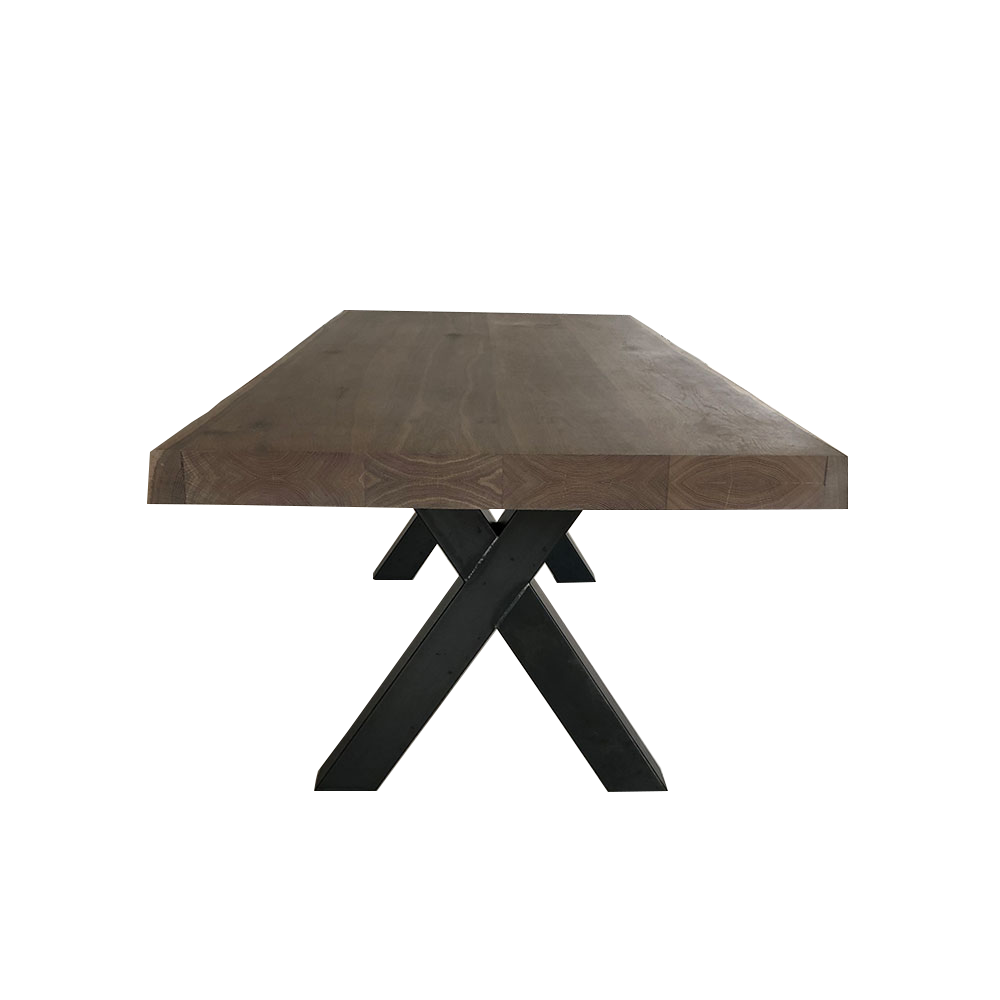 solid oak table with thick top and steel industrial  x legs