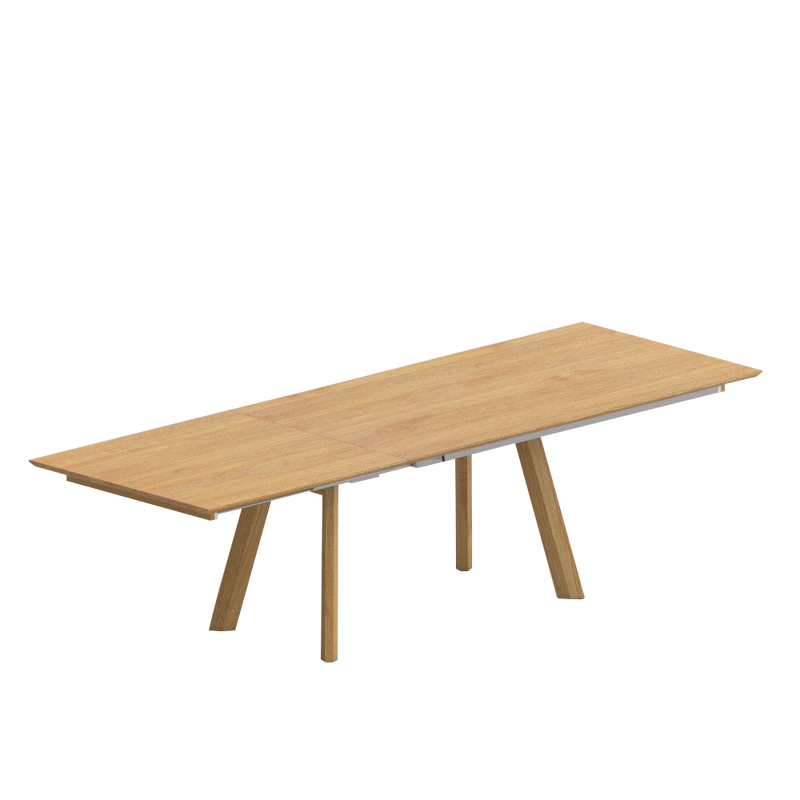 rombi oak table with butterfly extension out with continuous oak top