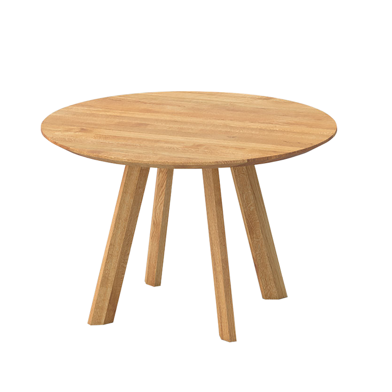 Rombi round oak table with four legs with rhombic leg profile